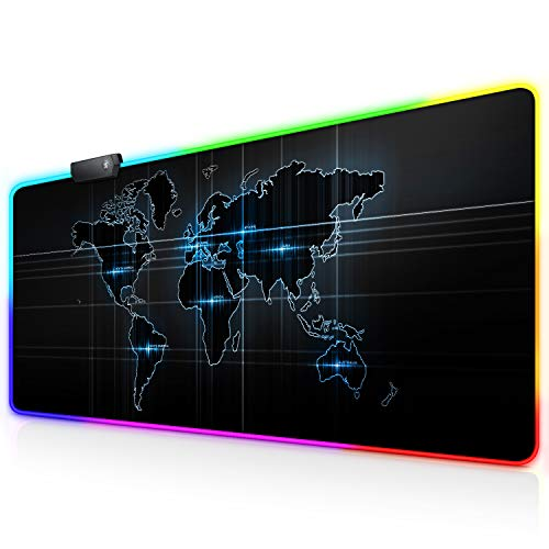 RGB Large Gaming Mouse Pad X Large, World Map Extended LED Mouse Pad 30% Larger Size(31.5'×11.8'), Anti-Slip Base Computer Keyboard Mouse Mat for Gaming/Laptops/E-Sports/Office Desk
