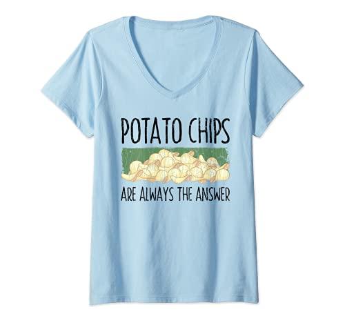 Mujer Papas fritas son siempre la respuesta divertido grfico de verduras Camiseta Cuello V