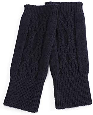 Women Winter Fingerless Cashmere Knit Gloves Twist Half-Finger Wrist Protector Female Elastic Wool Mittens with One Hole