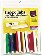 Insertable Index Tabs with Printable Inserts, Two, Assorted Tab, 25/Pack, Sold as 25 Each