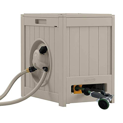 Suncast Aquawinder 125' 175 ft Lightweight Water Powered Retractable Hose Reel Portable Hands Free and for Your Garden, Taupe