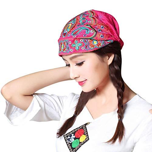 ღDOOIOR Women Mexican Style Ethnic Vintage Embroidery Flowers Bandanas Red Print Hat