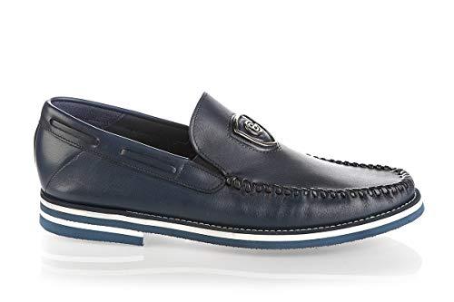 Baldinini 6701 Blue Calfskin Italian Designer Men Maccosins