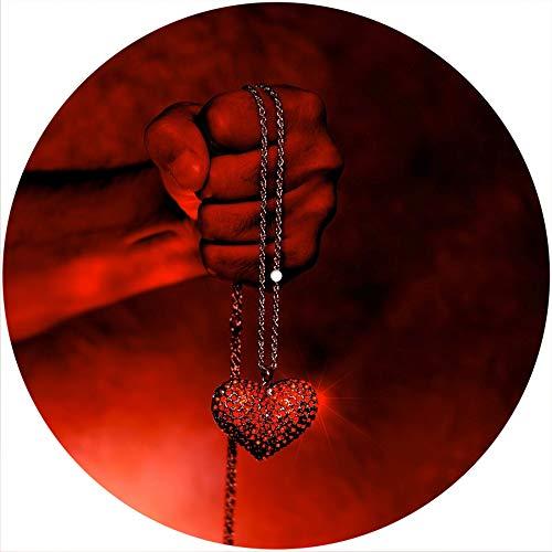 Slipmatta halkmatta skrapdyna filt för alla 30 cm LP DJ vinyl skivspelare anpassad grafik – hjärta i handen
