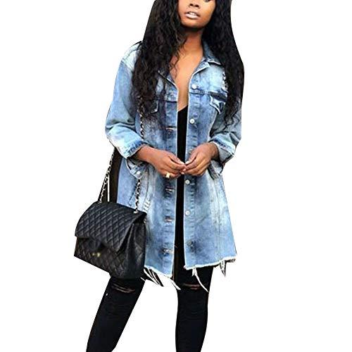 ORANDESIGNE Hellblau Einreiher Taschen V-Ausschnitt Langarm Boyfreind Oversize Lange Jeansjacke Damen Mantel Günstig M