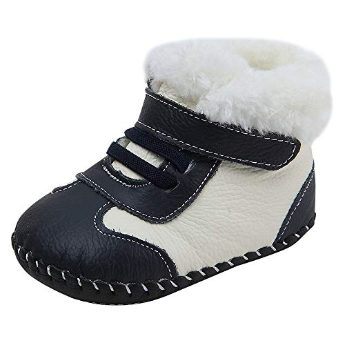 Baby Genuine Leather Winter Warm Snow Boots Soft Bottom Non-Slip Shoes for Boys Girls 0-18Months (11.5cm(6-9months), Navy)