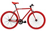 FabricBike- Vélo Fixie Noir, Fixed Gear, Single Speed, Cadre Hi-Ten Acier, 10Kg (S-49, Fully Glossy Red)