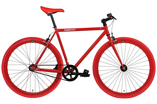 FabricBike- Bicicleta Fixie Blanca, piñon Fijo, Single Speed, Cuadro Hi-Ten Acero, 10Kg (M-54cm, Fully Glossy Red)