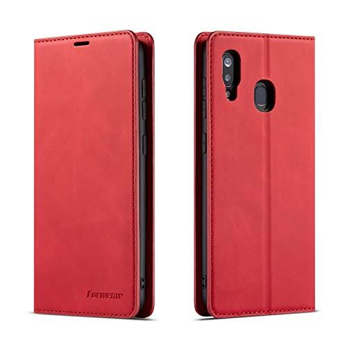QLTYPRI Hülle für Samsung Galaxy A40, Premium Dünne Ledertasche Handyhülle mit Kartenfach Ständer Flip Schutzhülle Kompatibel mit Samsung Galaxy A40 - Rot