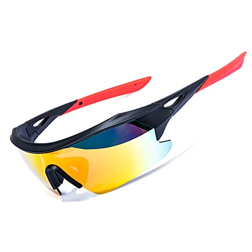of ewin sunglasses brands AOKNES Polarized Sports Cycling Glasses Goggles for Men Women with 3 Interchangeable Lenses (Orange)