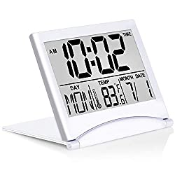 Betus Digital Travel Alarm Clock - Foldable Calendar & Temperature & Timer LCD Clock with Snooze Mode - Large Number Display, Battery Operated - Compact Desk Clock for All Ages (Silver)