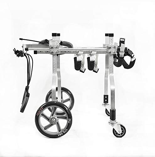 KAJILE Verstellbarer 4-Rad-Hunderollstuhl Aluminium-Hunderollstuhl für die Rehabilitation der Hinterbeine behinderter Hunde (S-4)