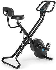 Capital Sports Azura X2 - Bicicleta estática, Pulsómetro en Manillar, Sistema Plegable, Rotor de 4 kg, 7 Niveles de Altura, Peso máx. 120 kg, 8 Niveles Resistencia, Respaldo, Blanco