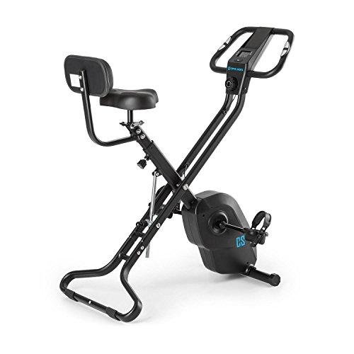 Capital Sports Azura X2 - Bicicleta estática, Pulsómetro en Manillar, Sistema Plegable, Rotor de 4 kg, 7 Niveles de Altura, Peso máx. 120 kg, 8 Niveles Resistencia, Respaldo, Negro
