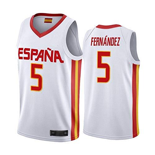 WOLFIRE WF Camiseta de España 2019 para Hombre, Mundial de China. Llul, Gasol, Rubio. Estampado, Transpirable y Resistente al Desgaste Camiseta para Fan (Fernandez Blanco, M)