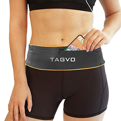 TAGVO Ceinture de Course à Pied Entièrement réglable et Confortable avec Sac de Taille à Clip pour clé Convient à Tous Les iPhone,Samsung,pour Hommes&Femmes, Coureurs,Jogging,Yoga,Entraînement,Sports