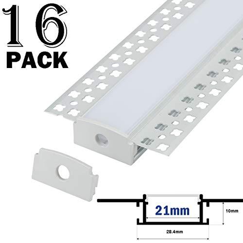 Aluprofil 16x1 Meter Aluminium Trockenbau-Profil-Leiste eloxiert für LED Streifen - Set inkl Abdeckung-Schiene milchig-weiß (opal) und Endkappen