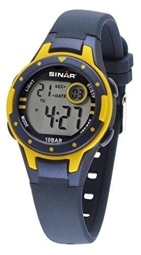 SINAR Jungen-Armbanduhr blau gelb Sportuhr outdoor 10 bar wasserdicht Licht digital XE-52-2