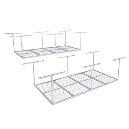 "FLEXIMOUNTS 2-Piece Overhead Garage Storage Rack Set Adjustable Ceiling Storage Rack 96"" Length x 48"" Width x 40"" Height, 2 pcs, White"
