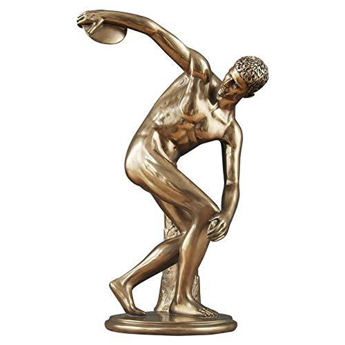XM&LZ Bronze Statues, Abstract Discobolus Sculpture Art Art Ornaments Resin Creative Handmade Figurine Vintage Home Decor Accents-a