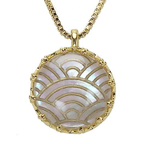 真珠の杜 水晶 ネックレス 白蝶貝 クォーツ シェル SV925 シルバー925 銀 波文様 金色 ペンダント レディース 誕生石 4月 dpn658-690gps