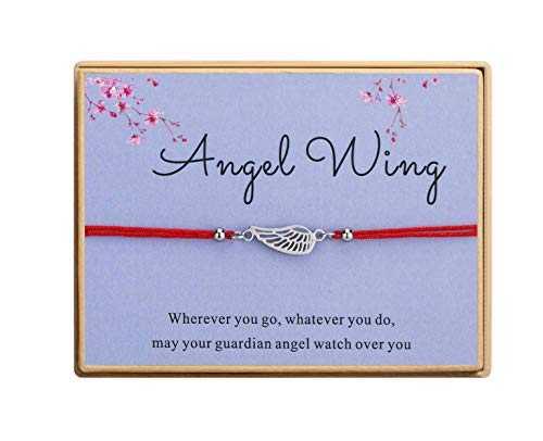 Angel Wing Bracelet Handmade Red Cord Ajustable Bracelet With Message Card Gift for Women