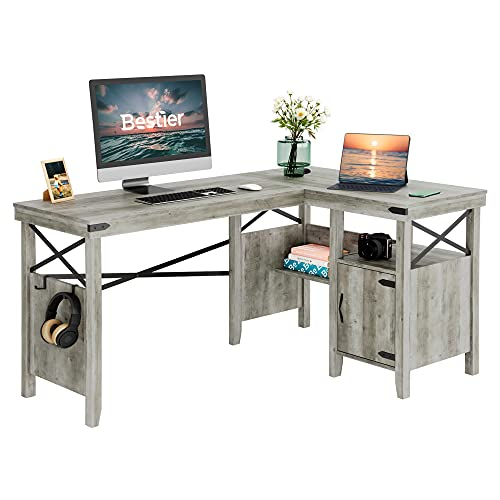 Bestier L-Shaped Computer Desk with Storage Cabinet and Bookshelf, 60 x 42 Inch Convertible Corner Home Office Table, Gray