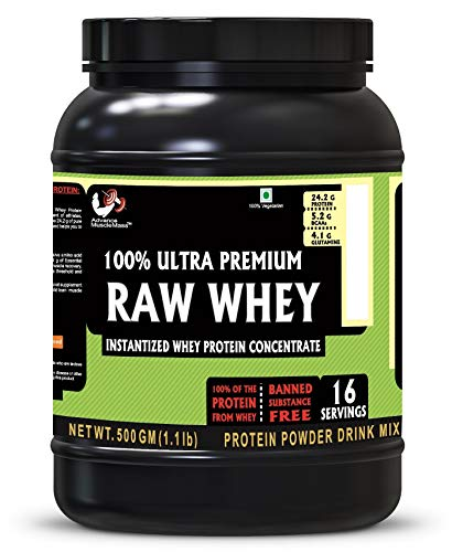 Advance MuscleMass Raw Whey Protein Concentrate | 24.2 g protein | Lab tested | Raw Whey from USA | Unflavoured | 500 G (1.1 lb)