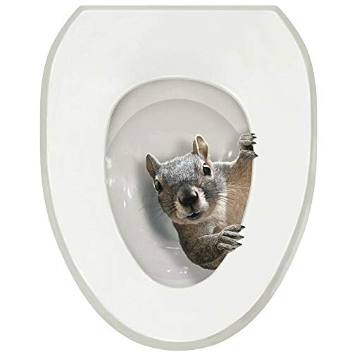 Model Squirrel! Toilet Seat Lid Tattoo Cover - Oval 12' x 14' with Ebook