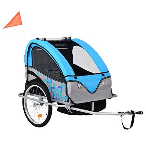 Fahrradanhänger für Kinder und Kinderwagen, 2-in-1, Transportwagen für Haustiere, faltbar, mit Handbremse, Räder mit Reflektoren, transparente Seitenfenster, blau und grau