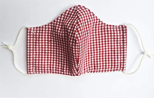 Mund- und Nasenschutz, Mundschutz, Schutzmaske aus Stoff rot kariert, Gr. S, sofort lieferbar aus DE