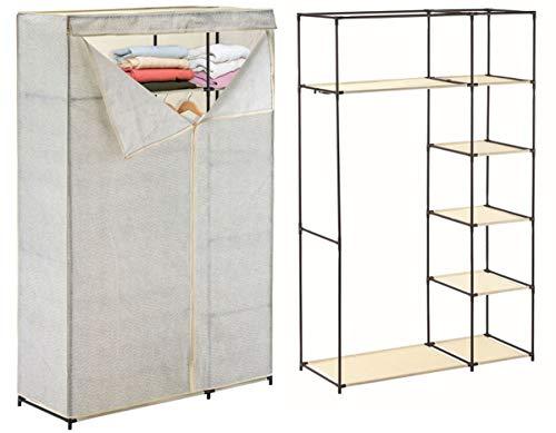 MSV XL Stoffschrank Kleiderschrank Faltschrank Campingschrank Stoff mit Kleiderstange 110 x 174,5 x 45 cm