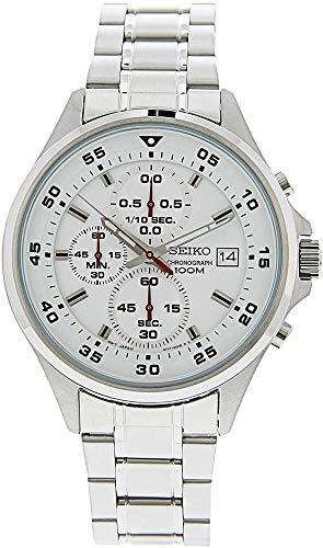 Seiko herenhorloge chronograaf kwarts horloge met roestvrij stalen armband SKS623P1