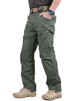 TACVASEN Men s Tactical Urban Ops Tactical Pants Climbing Hiking Hunting Cargo Pants Trousers Gray Green,32