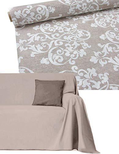 Funda para sofá de algodón de 2, 3, 4 y 5 plazas artesanales, cubre sofá esquinero, chaise longue, chaise longue fabricado en Italia (blanco Damask, 1 plaza)