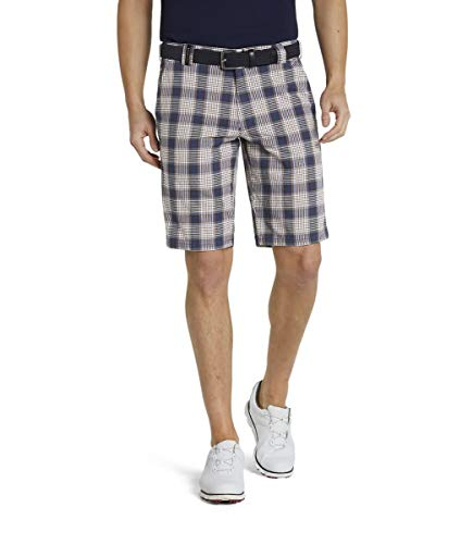 MEYER Pantalones de los Hombres B-St. Andrews Algodón - Azul-Marino - Bermudas para Golf de Cuadros