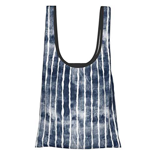 Faltbare wiederverwendbare Einkaufstasche, Einkaufstasche, umweltfreundlich, wasserabweisend, leicht, mit marineblauen Streifen