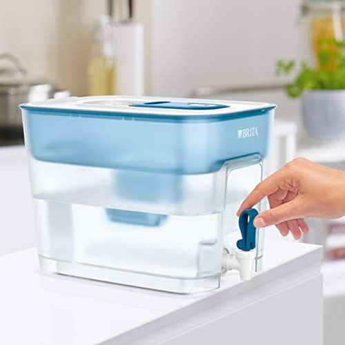 BRITA Flow XXL fridge water filter tank for reduction of chlorine, limescale and impurities, 8.2L -White/Teal