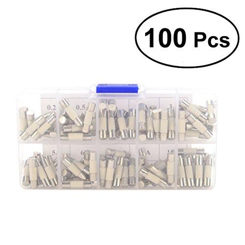 WINOMO 100 Stücke Keramik Sicherung 5x20mm Fast-blow 0,2A, 0,5A, 1A, 2A, 3A, 5A, 6A, 8A, 10A, 15A
