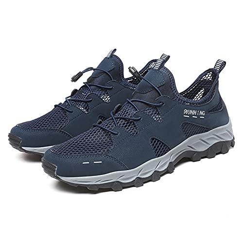 Hombres Senderismo Zapatos de Bicicleta de Montaña,Senderismo Zapatos de Aventura en el Desierto,Malla de Superficie de Cuero Transpirable Hueca para Exteriores,Blue-45