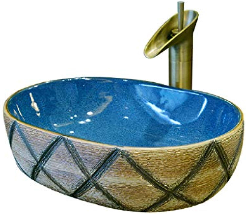 Ovales Badezimmer Waschbecken über Gegenbecken Keramik Schnitzen Waschen Hnde Pool Waschbecken Container Waschpltze