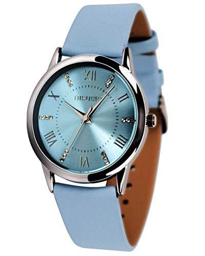 AIKURIO Damen Armbanduhr Analog Quarz 30M Wasserdicht mit Lederband Crystal Dial AKR001 (Hellblau-Für Ehefrau)