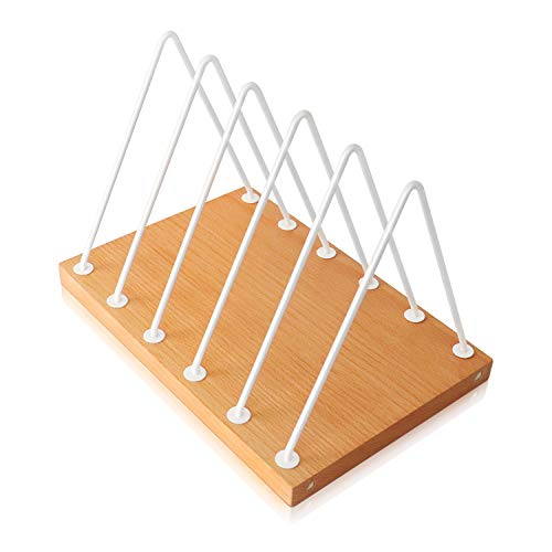 Aothia Magazine Holder,Desktop File Sorter Organizer,Triangle File Folder Racks,5 Slots File Sorter with Beech Base,Stylish Bookshelf Decor Home&Office (White)