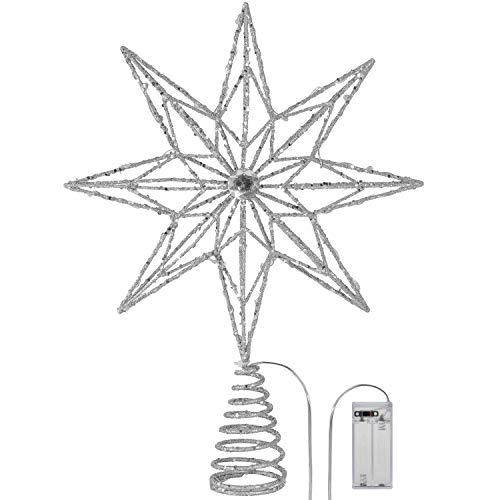 Valery Madelyn 13.6 inch Pre-Lit Silver White Christmas Tree Topper, Metal Star Treetop with 15 Warm LED Lights for Christmas Tree Decoration, Christmas Tree Ornaments, Battery Operated(Not Included)