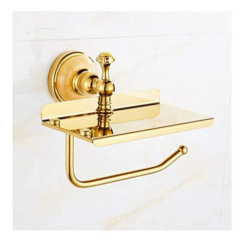Tenedor de papel higiénico europeo de latón montado en la pared Moderno de baño Accesorios para el titular del tejido del rodillo con el soporte del estante del teléfono para el baño del cuarto de bañ