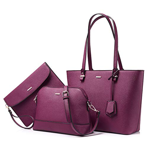Handbags for Women Tote Bag Shoulder Bags Fashion Satchel Top Handle Structured Purse Set Designer Purses 3PCS PU Stand Gift Sexy Purple