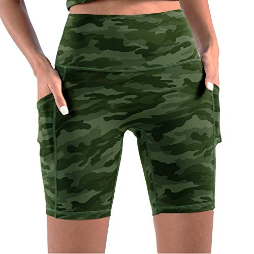 Telamon pantalones cortos de yoga de cintura alta para mujer, pantalones cortos de compresión atléticos para correr con bolsillos profundos - Verde - M