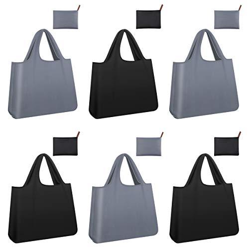 PHILORN Faltbare Einkaufstasche 6 Stück, Umweltfreundliche Einkaufstaschen, Wiederverwendbare Einkaufstüten, Mini Maxi Shopper für Obst Gemüse Lagerung 58cm x 68cm (DREI schwarz und DREI grau)