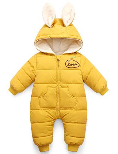 Happy Cherry - Baby Winter Overall Mädchen Schneeanzug Strampler mit Kapuze Warm Down Jacke Einteiliger Bodysuit- Ingwer
