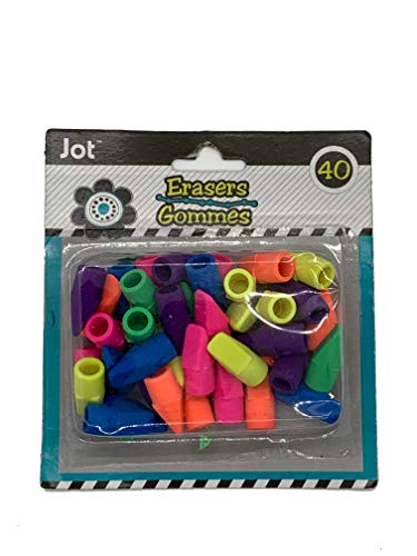 Set of 40 Wedge Pencil Top Erasers (Pink, Orange, Yellow, Green and Blue)